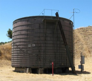 Redwood water storage tank