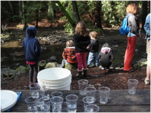 Class preparing for trout release