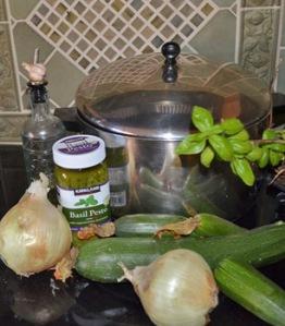 Zucchini pesto soup makings