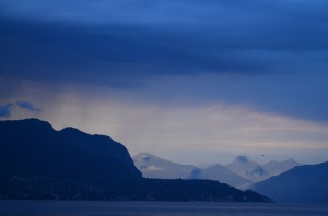 Rain clouds over Lake Como in Italy