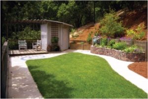 Small grass area for children's play yard