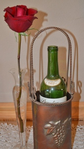 rose and vintage bottle